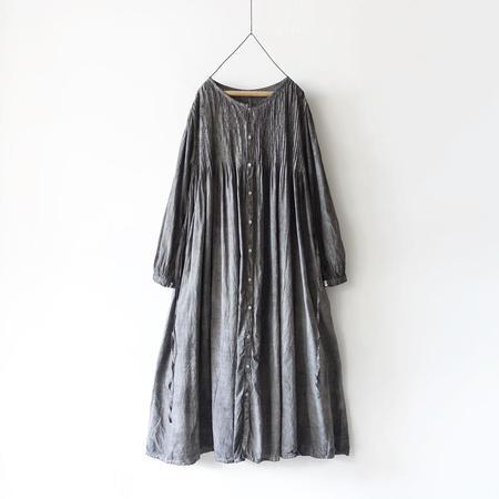 ICHI ANTIQUITES Hand Dye Khadi Cotton Pin Tuck Flare Dress - Sumi