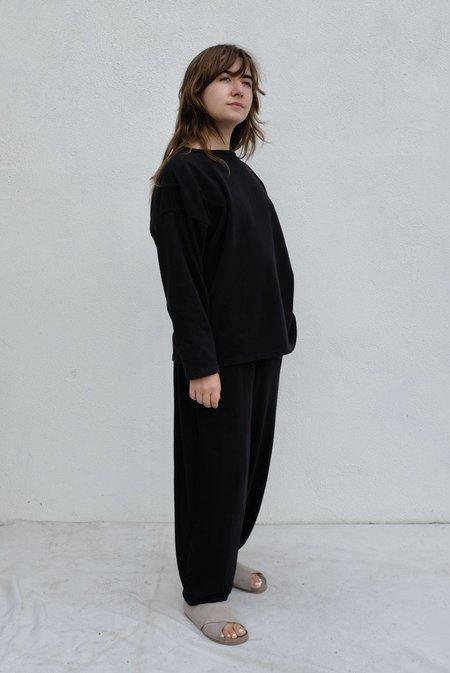 Black Crane Cotton Terry Boyfriend Pullover - Black