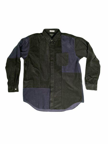 Engineered Garments Corduroy Short Collar Shirt - Black Patchwork