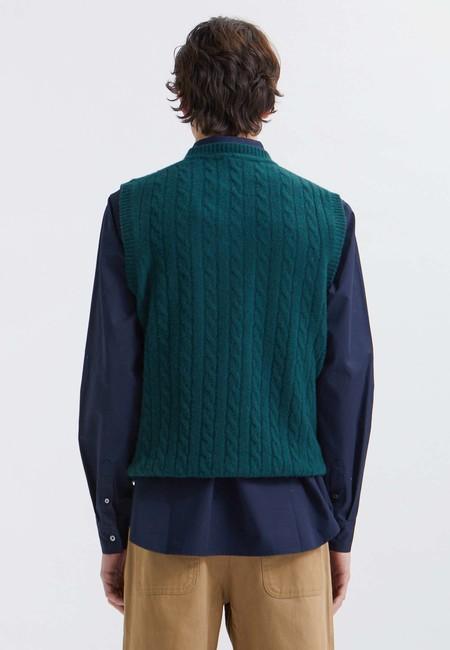 Wood Wood Bruno Lambswool Cable Vest - dark emerald