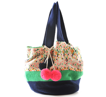 Sophie Anderson Muti Color Navy Jonas Woven Bag by Sophie Anderson