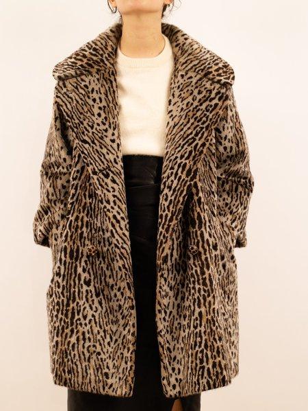 Vintage 1960's madison avenue leopard print trapeze coat - leopard print