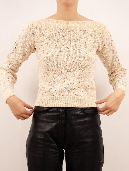 VINTAGE 1980's speckled boatneck sweater - CREAM