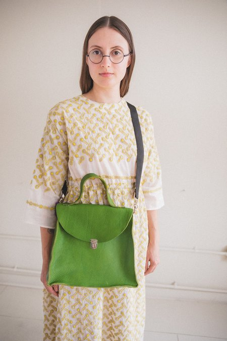 Camiel Fortgens CROOKED BAG - GREEN LEATHER