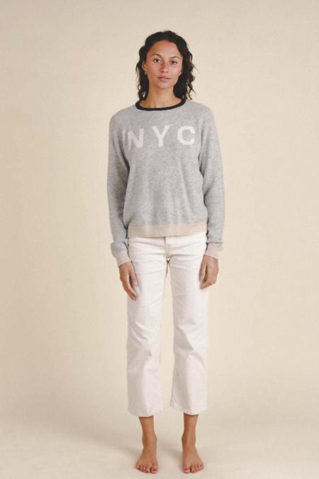 Trovata NYC Logo Sweater Renee Crewneck Cashmere - Grey