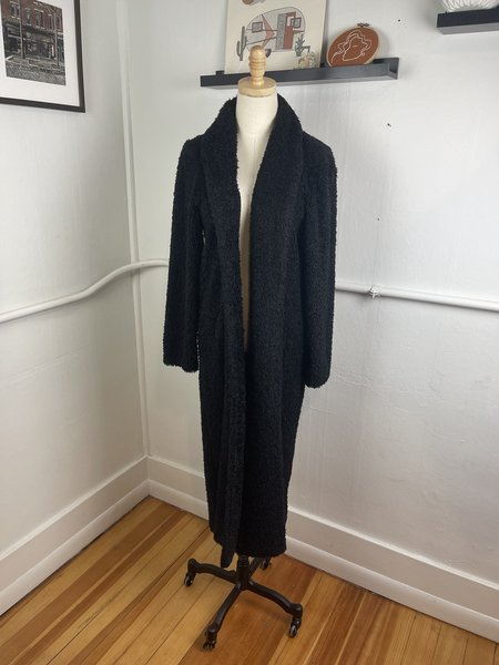 Vintage Fuzzy Maxi Cardigan - Black