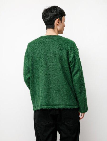 Engineered Garments Mohair Crewneck Cardigan - Kelly Green