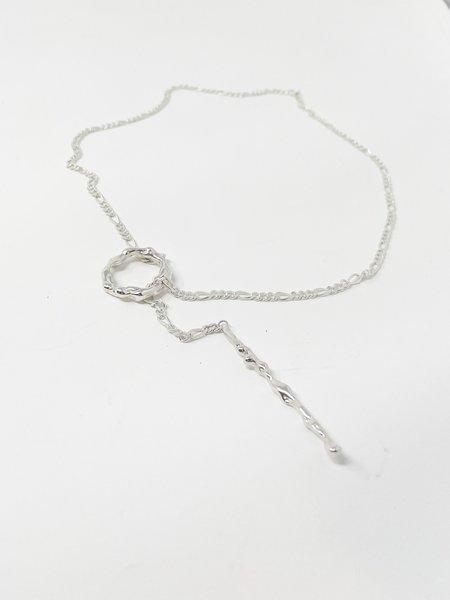 Faris Lava Lariat necklace - Silver