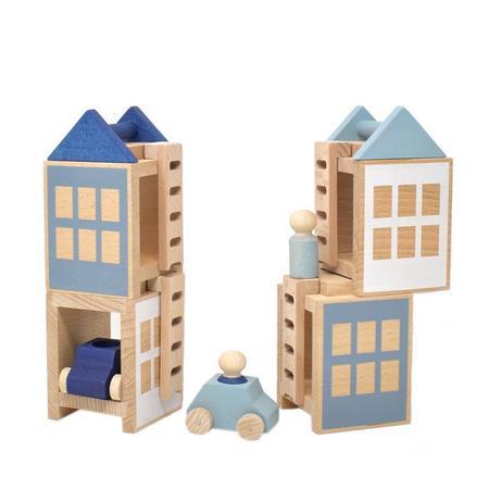 kids Lubulona Wooden Winterburg Town Construction Set toy - grey