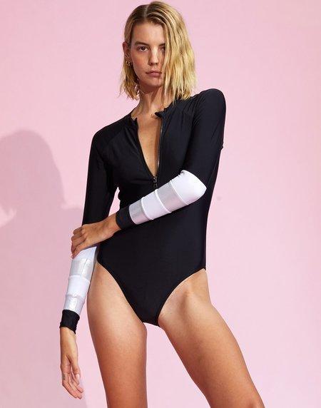 Cynthia Rowley Metallic Striped Surfsuit