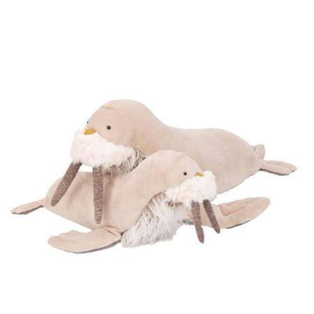 Kids Moulin Roty Large Tout Autour Du Monde Walrus Soft Toy - Beige