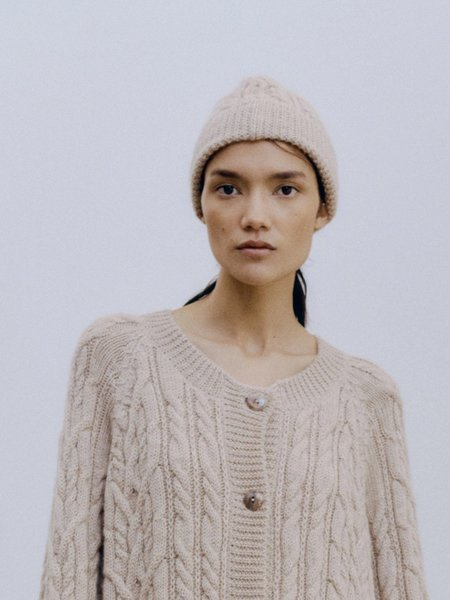 Monica Cordera Ecowool Cable Beanie - Nude