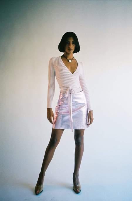 Maryam Nassir Zadeh Aura Torres Skirt - Pink Mettalic