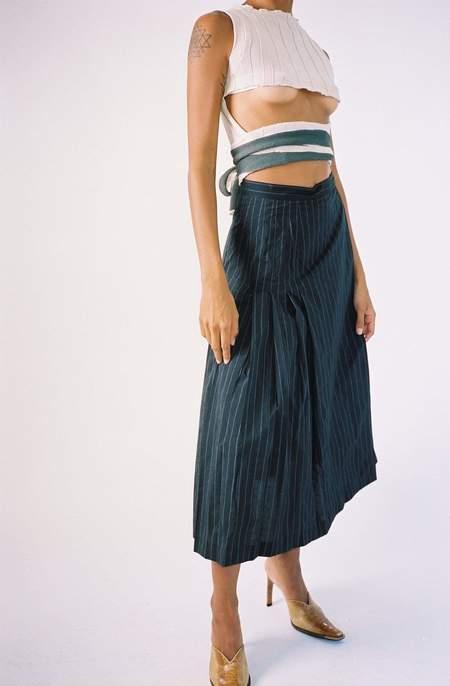 Maryam Nassir Zadeh Pinstripe Umbra Skirt - Onyx