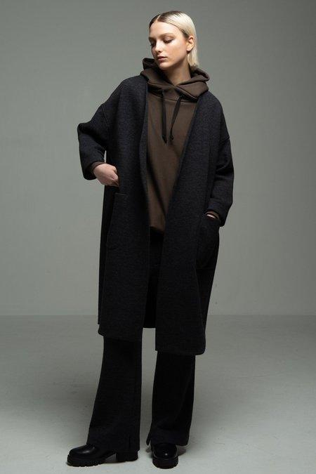 V-Neck Coat-Black