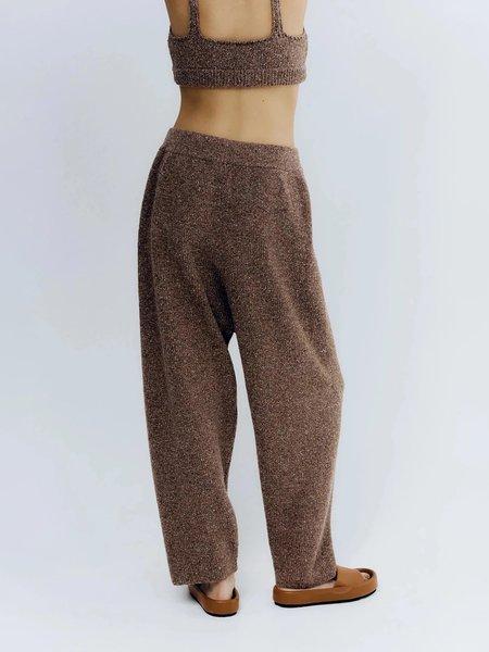 Monica Cordera Soft Wool Pants In Deep Taupe