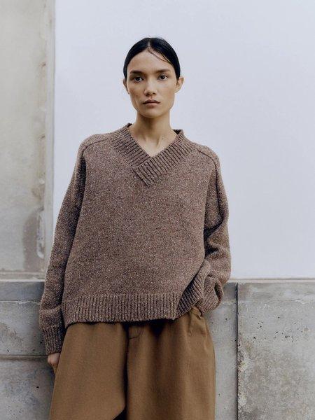 Monica Cordera Soft Wool Sweater In Deep -Taupe Brown