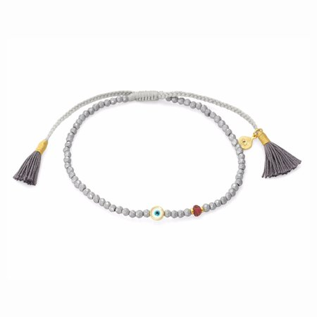 TAI Beaded Round Evil Eye Charm Bracelet - Matte Silver Hematite
