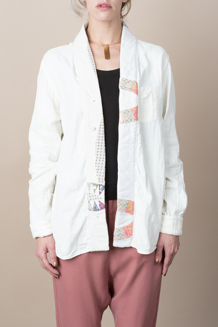Kapital Quilted High Neck Shirt In Ecru