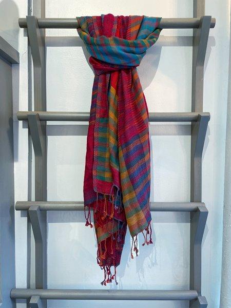 Sevya Kalya Cotton and Wool Scarf - Red