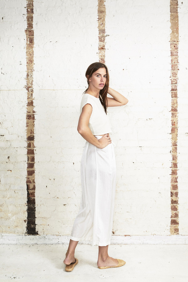 Off Season NYC Zinnia Pant Silk Satin White