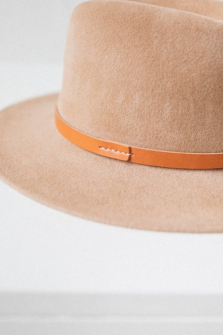 Brookes Boswell STITCHED LEATHER BAND JACKSON HAT