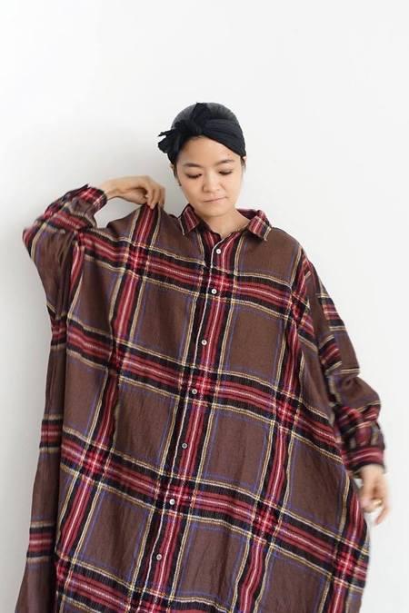 ICHI ANTIQUITES Wool Tartan Shirt Dress - Brown