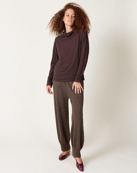 ICHI ANTIQUITES Cotton Tencel Turtleneck - Dark Brown