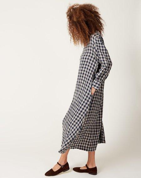 ICHI ANTIQUITES Linen Azumadaki Gingham Dress - Beige