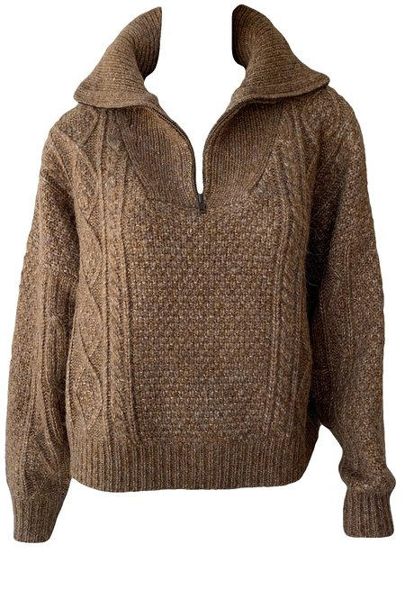 The Great. Cable Henley Pullover - Cider