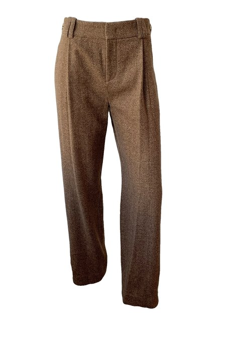 VINCE Flannel High Waisted Trouser - Umber