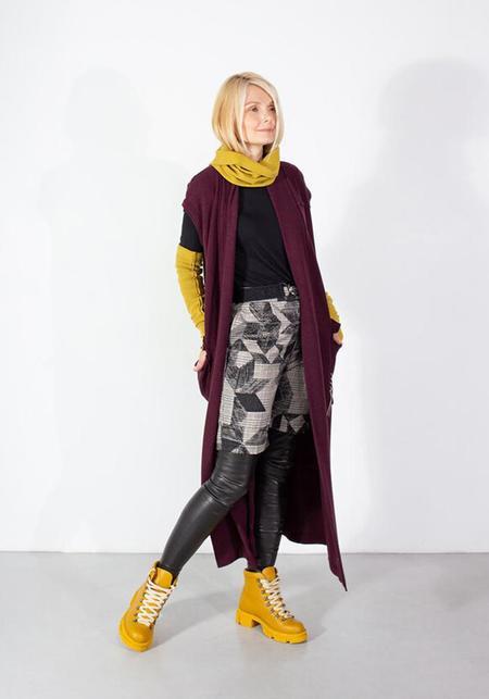 NY 77 Design Bold Pocket Detail Tie Waist Knit Vest - BURGUNDY