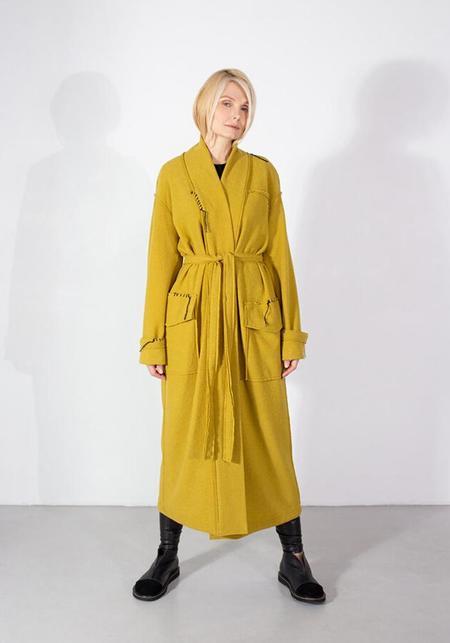 NY 77 Design Bold Pocket Detail Tie Waist Long Knit Cardigan - MUSTARD