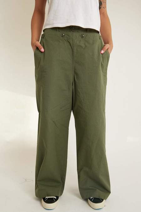 Engineered Garments Women's Sailor Pant - Olive Cotton Ripstop