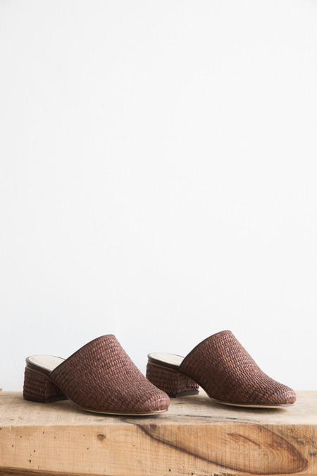 Samuji Basket Weave Mules in Dark Brown