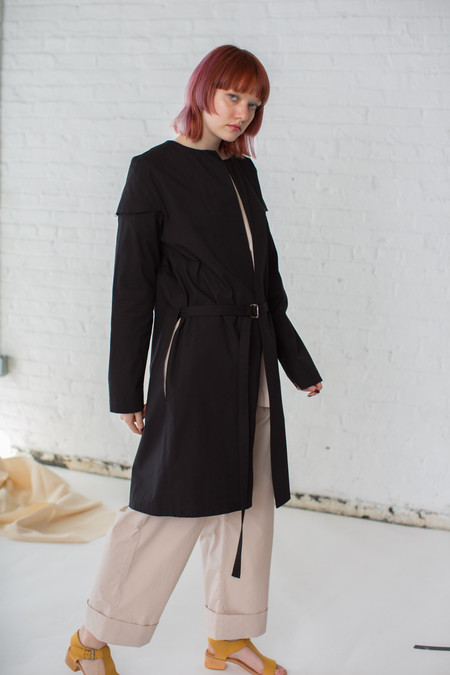 Rowena Sartin Double Sleeve Jacket with Side Slits in Black