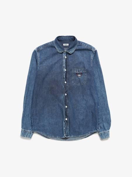 PRE-LOVED Kenzo Logo Embroidered Denim Shirt - BLUE