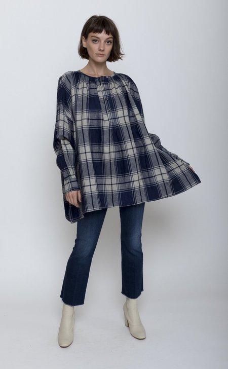 ICHI ANTIQUITES Indigo Herringbone Woven Linen Pullover