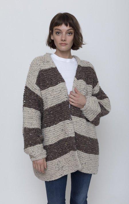 ICHI ANTIQUITES Wide Stripe Cardigan - Brown/Natural