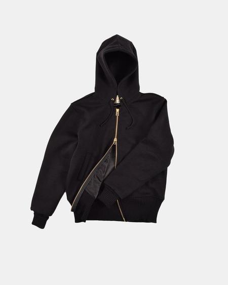 Dehen Full Zip Moto Hoodie - Black