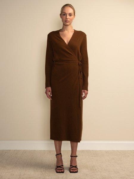 PURECASHMERE NYC Maxi Wrap Dress - Deep Camel