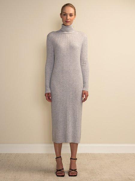 PURECASHMERE NYC Rib Turtleneck Maxi Dress - Grey