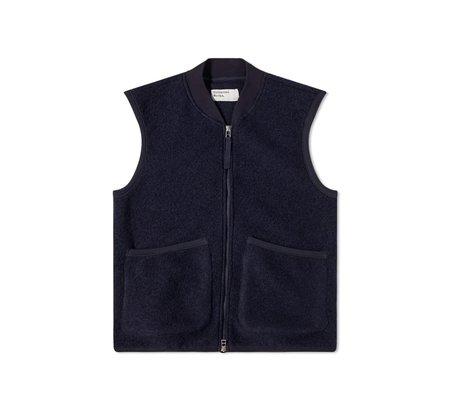 Universal Works Zip Wool Fleece Waistcoat vest - Navy