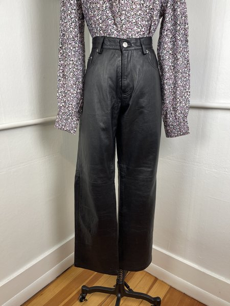 Vintage Calvin Klein Jeans Leather Pants - black