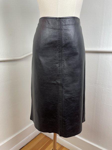 Vintage Leather Midi Skirt -Black