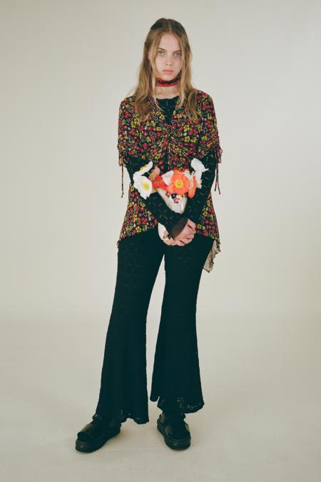 Pucker Flower Lace Pants -Black