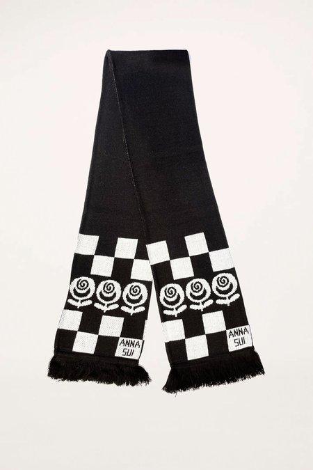 Rose Checker Scarf - Black