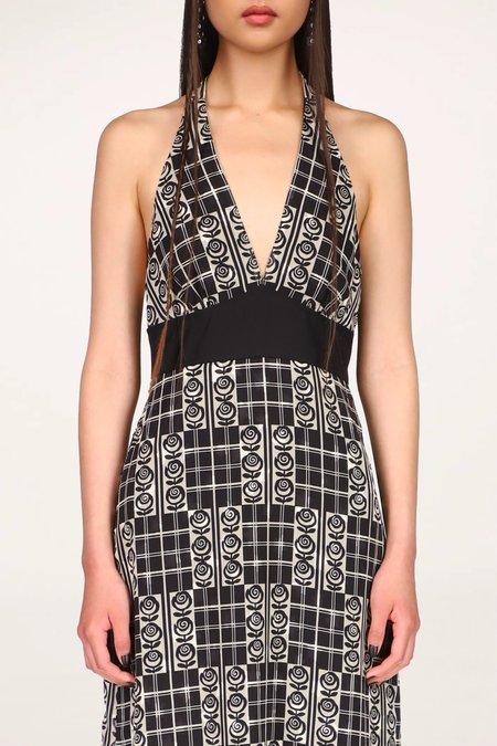 Rose Trellis Halter Dress - Black