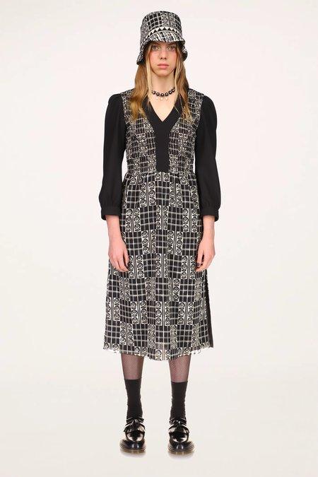 Rose Trellis Smocked Dress - Black