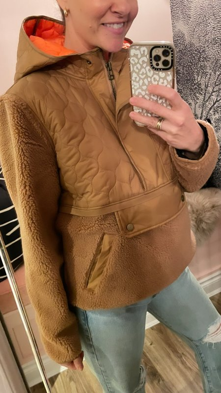 'Leo' Sherpa Quilted Pullover-Brown